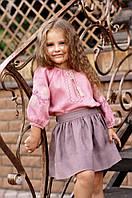 Нарядная детская блуза из натуральной ткани с вышивкой Д24-276