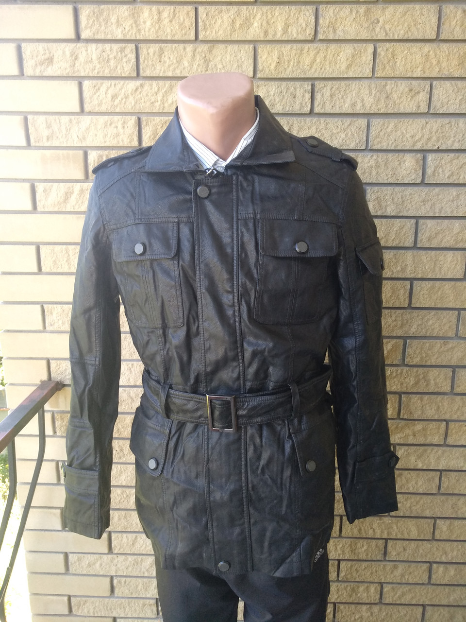 Куртка мужская из экокожи удлиненная JINMAN