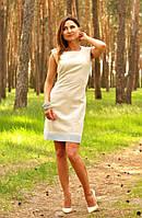 Летнее вышитое платье-футляр льняное на короткий рукав (П01/21-241), фото 1