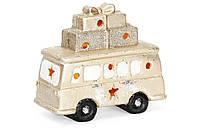 Декоративная фигура Новогодний автобус с LED подсветкой 22см, цвет - шампань,набор 2 шт, фото 1
