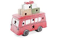 Декоративная фигурка Автобус с LED подсветкой, цвет - красный, набор из 2 шт.