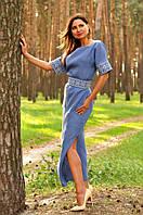 Длинное вышитое платье с цельнокроеным рукавом П02/7-273, фото 1