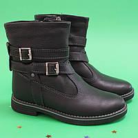 Кожаные черные сапожки на девочку Украина р.32,34,36