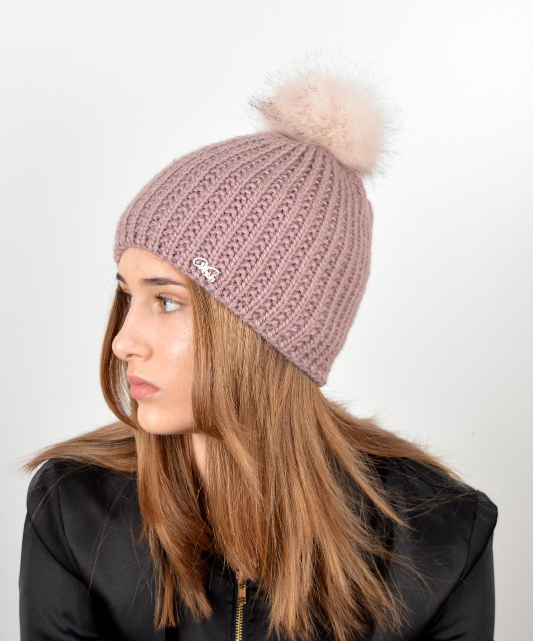 Женская шапка с помпоном 3338 т.розовый