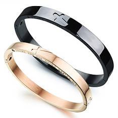 Жорсткі парні браслети для двох закоханих чорний і золотий медична сталь цирконій позолота гравірування