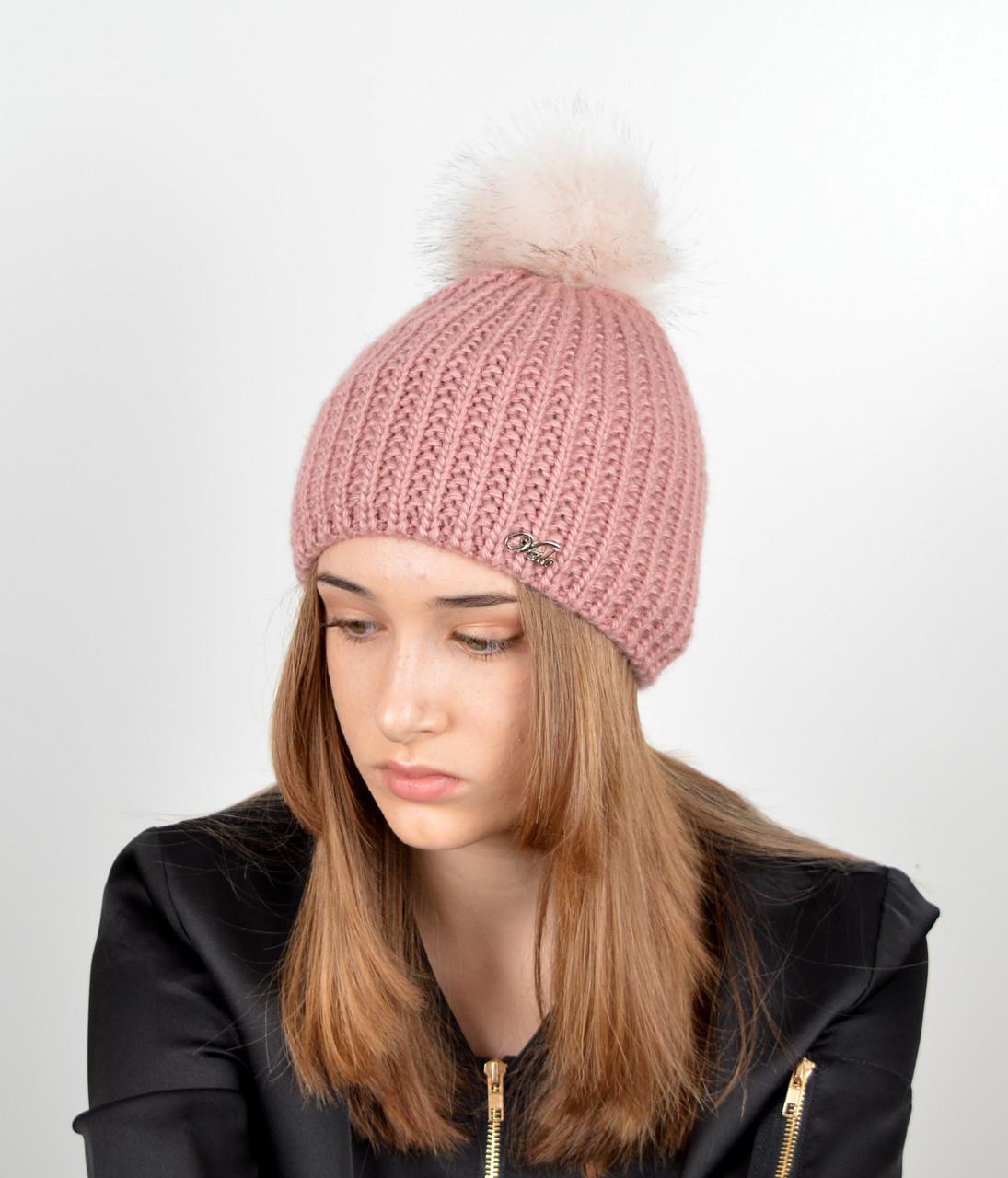 Женская шапка с помпоном 3338 т.пудра