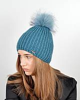 Женская шапка с помпоном 3338 изумруд, фото 1