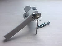Ручка оконная  ОСТО алюм. с замочком одностор.белая