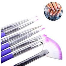 Кисти для маникюра фиолетовые - в наборе 7шт., длина 18см, искусственный ворс