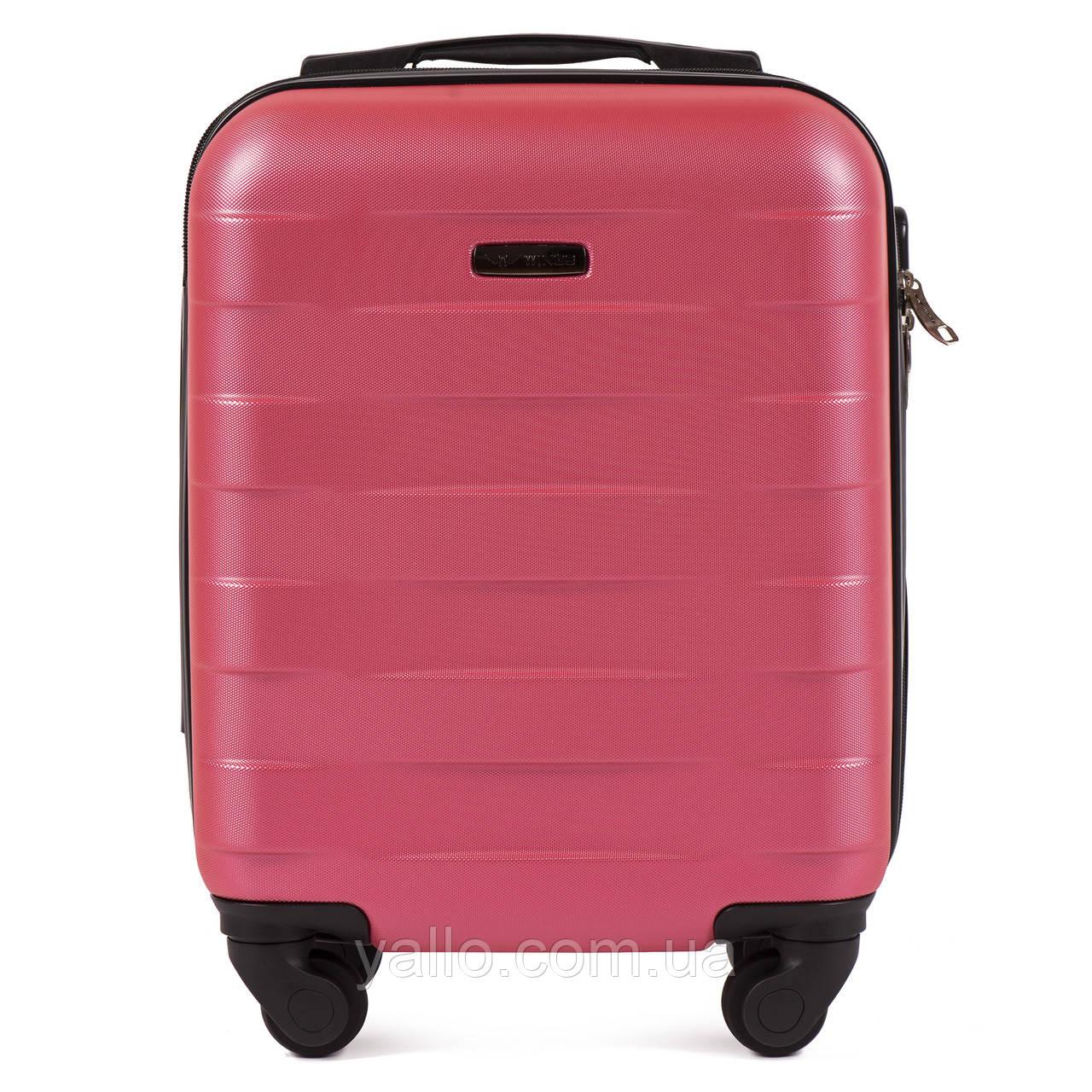 Чемодан Ударостойкий Самый малый чемодан из поликарбоната WINGS 401 CARBON RED ROSE