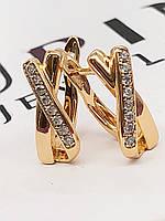 Оригинальные серьги ХР.  Медицинское золото. Код:5361