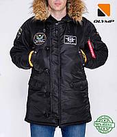 Зимняя мужская парка куртка аляска Olymp с нашивками - N-3B, Slim Fit, Color: Black 100% Нейлон