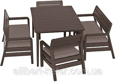 Набір садових меблів DELANO SET WITH LIMA TABLE 160 темно-коричневий (Allibert)