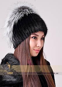Жіноча хутрова шапка з розкішним обручем з чорнобурки