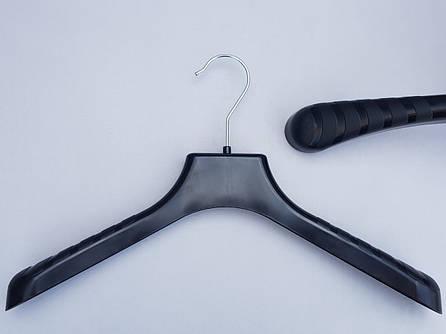 Плечики вешалки пластмассовые V-PL38 широкие черного цвета, 38 см
