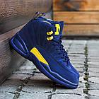 Баскетбольные кроссовки PSNY x Air Jordan 12 Michigan PE (Найк Аир Джордан 12) в стиле синие, фото 2