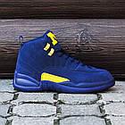 Баскетбольные кроссовки PSNY x Air Jordan 12 Michigan PE (Найк Аир Джордан 12) в стиле синие, фото 3