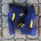 Баскетбольные кроссовки PSNY x Air Jordan 12 Michigan PE (Найк Аир Джордан 12) в стиле синие, фото 5