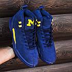 Баскетбольные кроссовки PSNY x Air Jordan 12 Michigan PE (Найк Аир Джордан 12) в стиле синие, фото 6