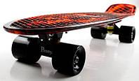 """Скейт Penny Board 22"""" С принтом """"Fire"""" (Огонь). Черные матовые колеса. Пенни Борды, фото 1"""