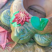 Черепаха-Квіткарка з бетону, бетонна клумба, фото 1