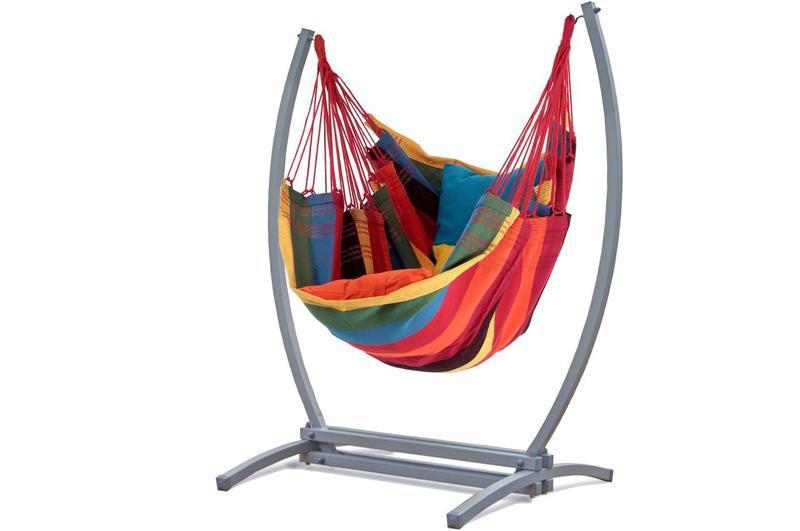 Подвесное кресло-гамак с железным каркасом XXL. Цветной.