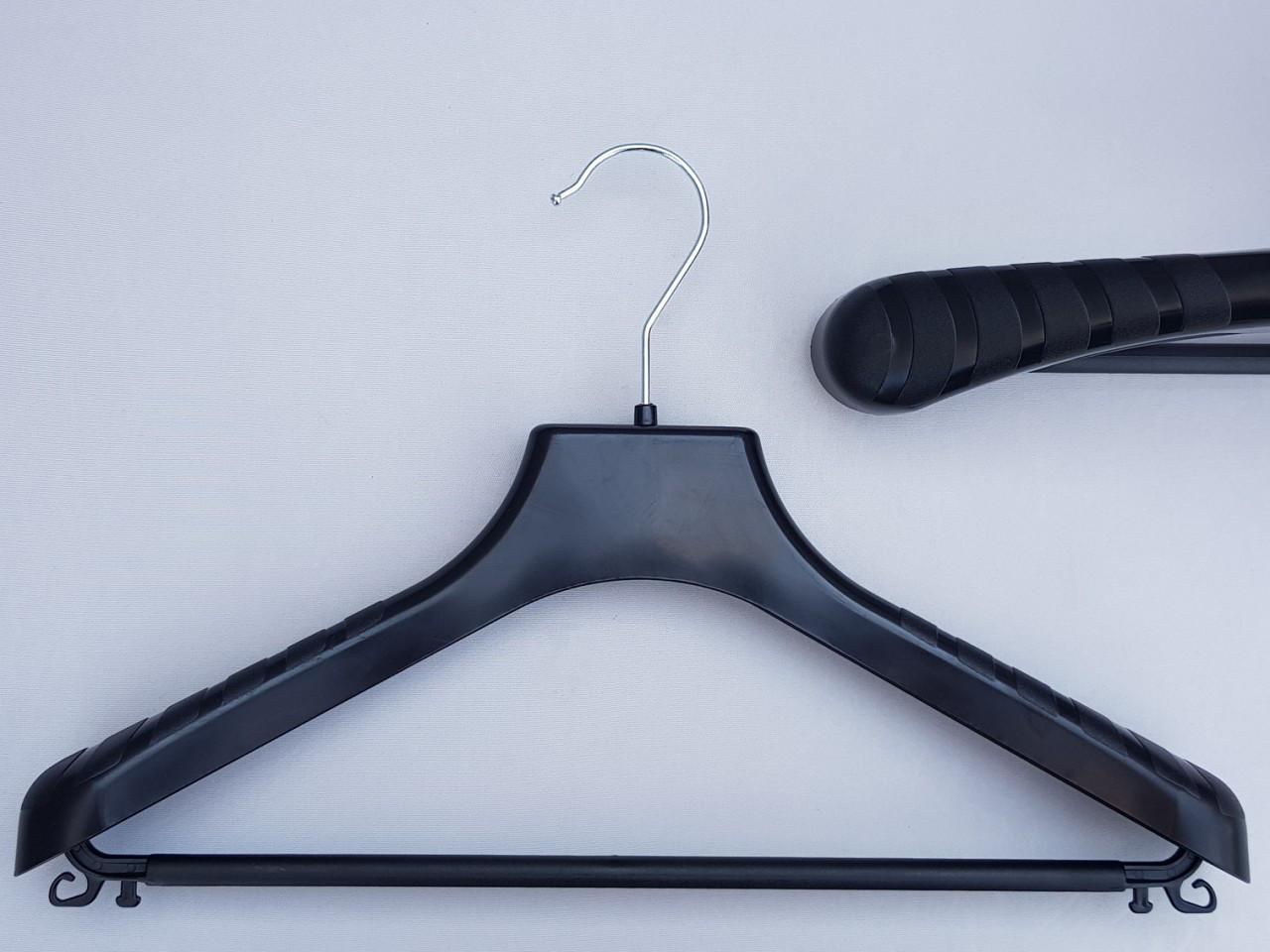 Длина 38 см. Плечики вешалки пластмассовые V-PLp38 широкие черного цвета