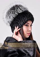 Женская шапка из ондатры с колпаком из чернобурки