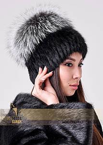 Жіноча шапка з ондатри з ковпаком з чорнобурки