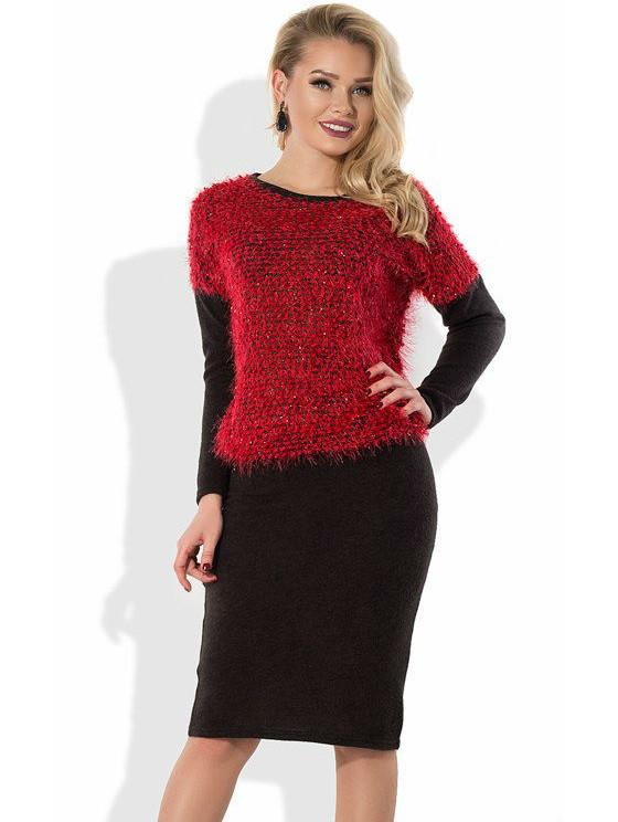 Зимнее платье из ангоры с верхом из красной травки