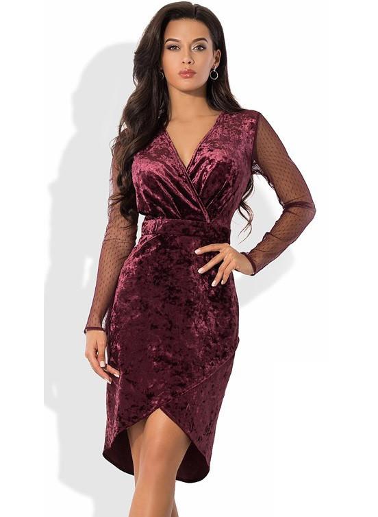 Бархатное платье с рукавами из сетки бордовое