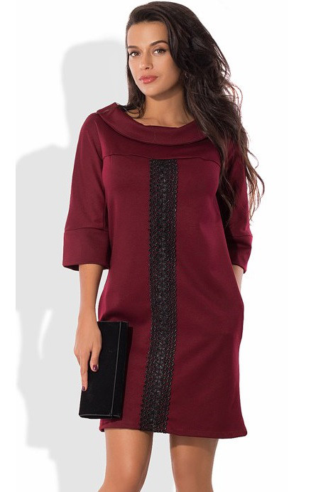 Платье-шифт из трикотажа алекс бордовое