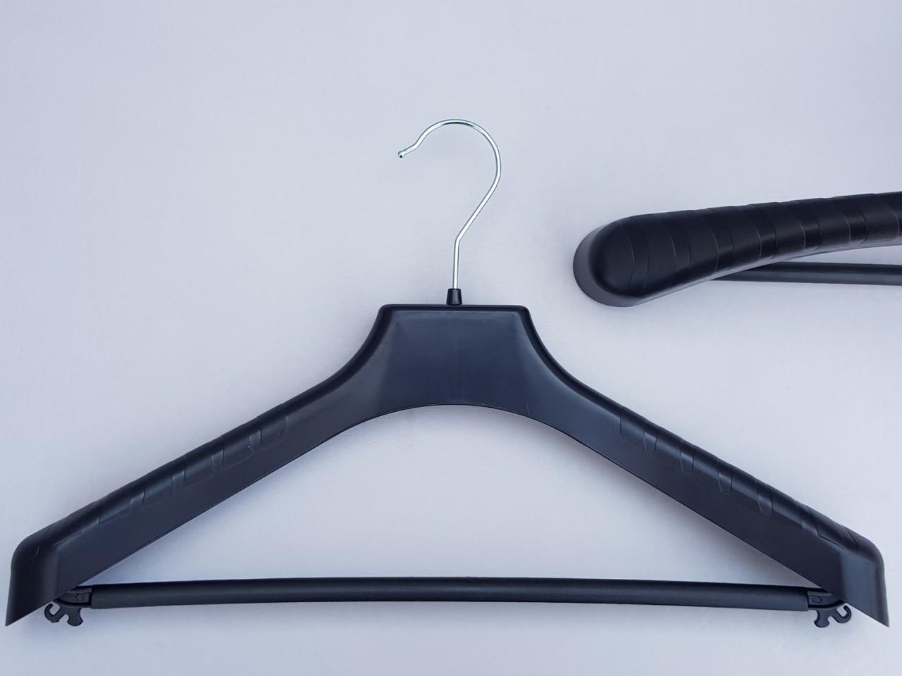 Длина 42 см. Плечики вешалки пластмассовые V-PLp42 широкие черного цвета