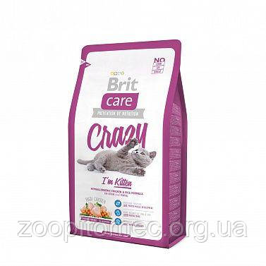 Корм Brit Care (Брит Кеа) Cat Crazy I am Kitten для котят курица с рисом, 2 кг