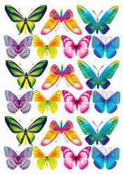 Вафельная картинка для кондитерских изделий, топперов, пряников, кексов Бабочки (лист А4)