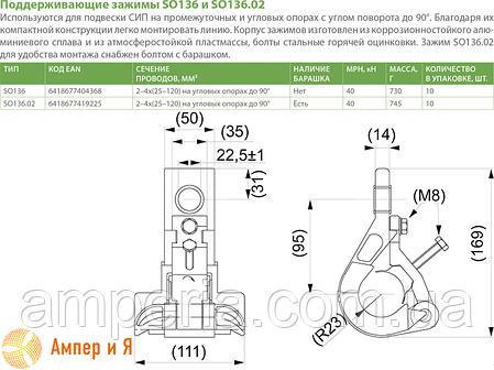 Поддерживающий зажим SO136 2/4x(25-120) ENSTO, фото 2
