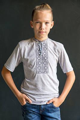 Вишиванка для хлопчика Котигорошко сірий на сірому – короткий рукав
