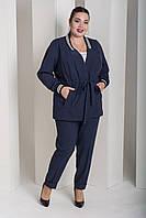 Брючный женский костюм в батале с кардиганом под пояс 10BR945, фото 1