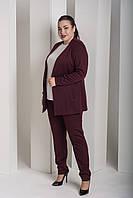 Брючный женский костюм в классическом стиле в больших размерах 10BR948, фото 1