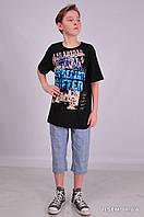 Черная детская футболка для мальчиков с рисунком