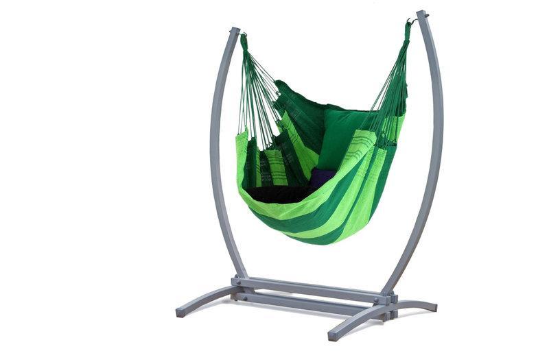 Подвесное кресло-гамак с железным каркасом XL. Цвет зеленый.