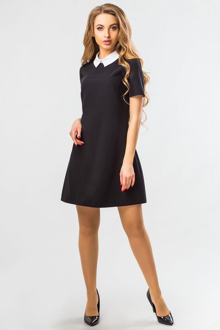 Черное платье с белым воротником - Интернет-магазин