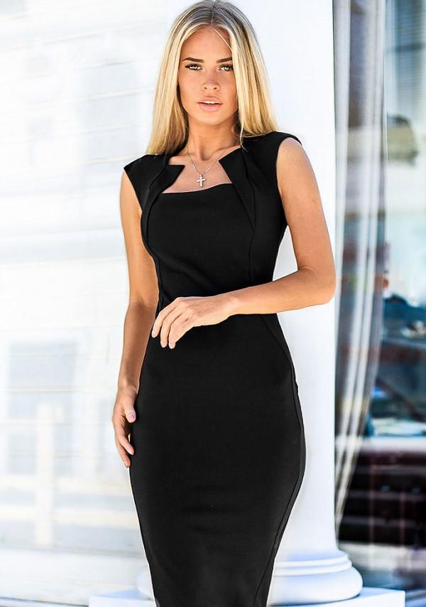 Облегающее платье-футляр 17300 Gepur L черный