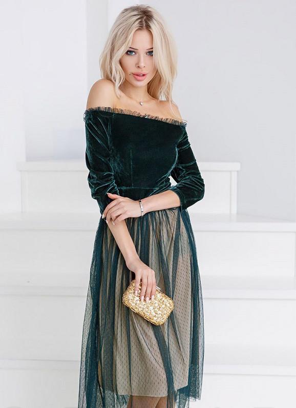 Пышное ретро-платье 24391 Gepur M Зеленый