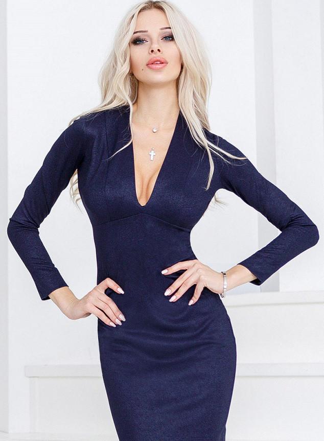 Откровенное платье люрекс 24333 Gepur M темно-синий