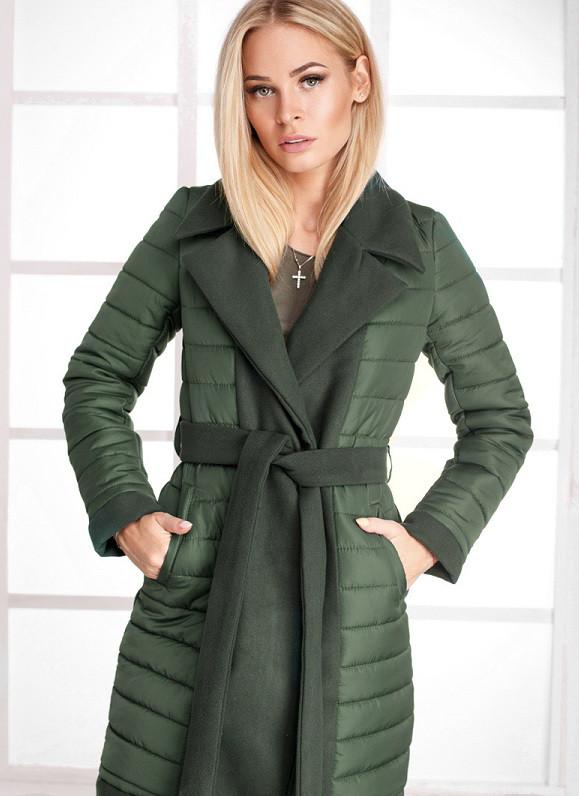 Удлиненное стеганое пальто 17737 Gepur M Оливково-зеленый