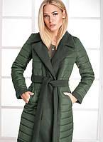 Удлиненное стеганое пальто 17737 Gepur M Оливково-зеленый, фото 1