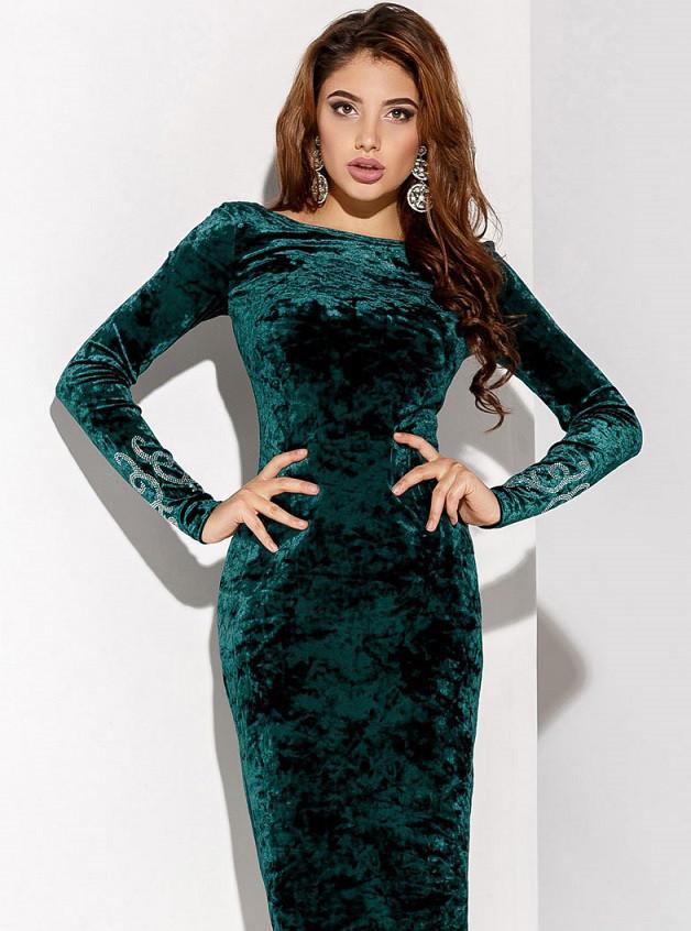 Бархатное платье камни 24059 Gepur L Зеленый