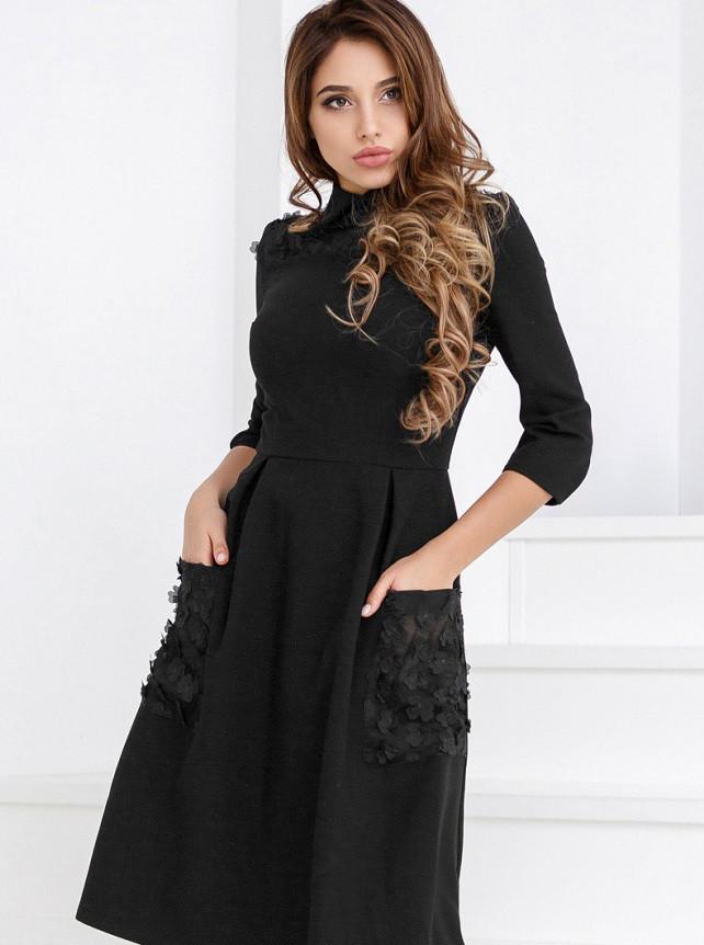 Строгое платье А-силуэта 24642 Gepur L черный