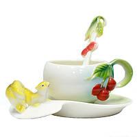 Чайный набор чашка, ложка, блюдце Белка